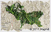 Satellite Panoramic Map of Weixin, shaded relief outside