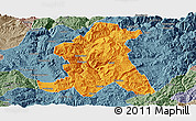 Political Panoramic Map of Wuding, semi-desaturated