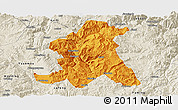 Political Panoramic Map of Wuding, shaded relief outside