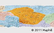 Political Panoramic Map of Wuenshan, lighten
