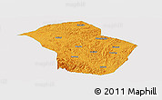 Political Panoramic Map of Wuenshan, single color outside