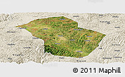 Satellite Panoramic Map of Wuenshan, shaded relief outside