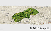 Satellite Panoramic Map of Xichou, shaded relief outside