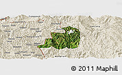 Satellite Panoramic Map of Ximeng, shaded relief outside