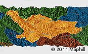 Political Panoramic Map of Xinping, darken