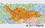 Political Panoramic Map of Xinping, lighten