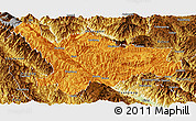 Political Panoramic Map of Xinping, physical outside