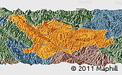Political Panoramic Map of Xinping, semi-desaturated