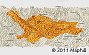 Political Panoramic Map of Xinping, shaded relief outside