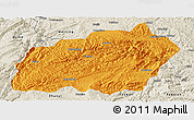 Political Panoramic Map of Xuanwei, shaded relief outside