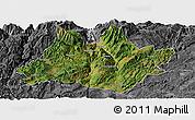 Satellite Panoramic Map of Xundian, desaturated