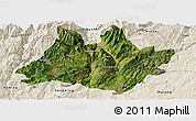 Satellite Panoramic Map of Xundian, shaded relief outside