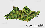 Satellite Panoramic Map of Xundian, single color outside