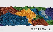 Political Panoramic Map of Yangbi, darken