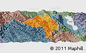 Political Panoramic Map of Yangbi, semi-desaturated