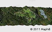 Satellite Panoramic Map of Yangbi, darken