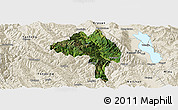 Satellite Panoramic Map of Yangbi, shaded relief outside