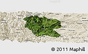 Satellite Panoramic Map of Yanjin, shaded relief outside