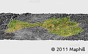 Satellite Panoramic Map of Yanshan, desaturated