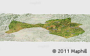 Satellite Panoramic Map of Yanshan, lighten