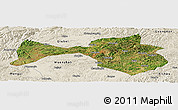 Satellite Panoramic Map of Yanshan, shaded relief outside
