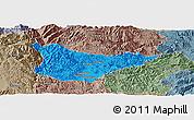 Political Panoramic Map of Yaoan, semi-desaturated
