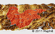 Political Panoramic Map of Yongde, physical outside