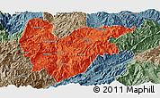 Political Panoramic Map of Yongde, semi-desaturated