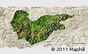 Satellite Panoramic Map of Yongde, shaded relief outside