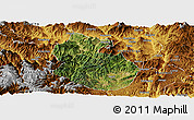 Satellite Panoramic Map of Yongren, physical outside
