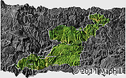 Satellite Panoramic Map of Yongshan, desaturated