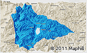 Political Panoramic Map of Yongsheng, shaded relief outside