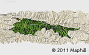 Satellite Panoramic Map of Yuanyang, shaded relief outside