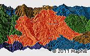 Political Panoramic Map of Yunlong, darken