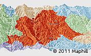 Political Panoramic Map of Yunlong, lighten