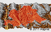 Political Panoramic Map of Yunlong, physical outside