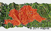 Political Panoramic Map of Yunlong, satellite outside