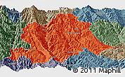 Political Panoramic Map of Yunlong, semi-desaturated