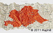 Political Panoramic Map of Yunlong, shaded relief outside