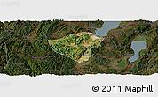 Satellite Panoramic Map of Yuxi, darken