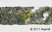 Satellite Panoramic Map of Yuxi, semi-desaturated