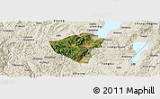 Satellite Panoramic Map of Yuxi, shaded relief outside