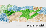 Political Panoramic Map of Zhaotong, lighten