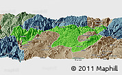 Political Panoramic Map of Zhaotong, semi-desaturated