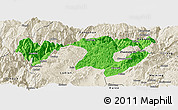 Political Panoramic Map of Zhaotong, shaded relief outside