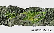 Satellite Panoramic Map of Zhaotong, semi-desaturated