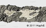 Shaded Relief Panoramic Map of Zhaotong, darken