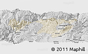 Shaded Relief Panoramic Map of Zhaotong, desaturated