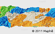Shaded Relief Panoramic Map of Zhaotong, political outside