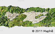 Shaded Relief Panoramic Map of Zhaotong, satellite outside